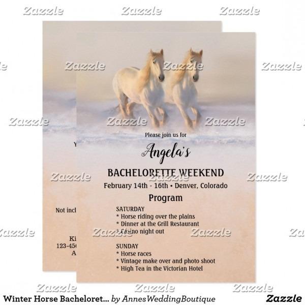 Winter Horse Bachelorette Weekend Program Template