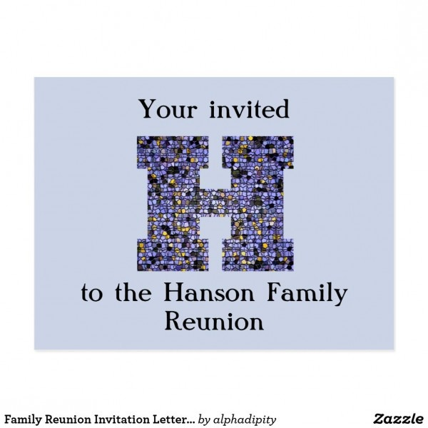 Family Reunion Invitation Letter H Mosaic Monogram Postcard