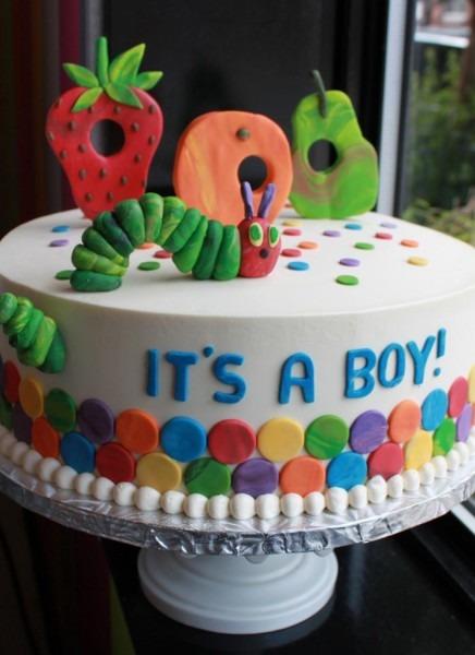 Cute Caterpillar Baby Shower Cake