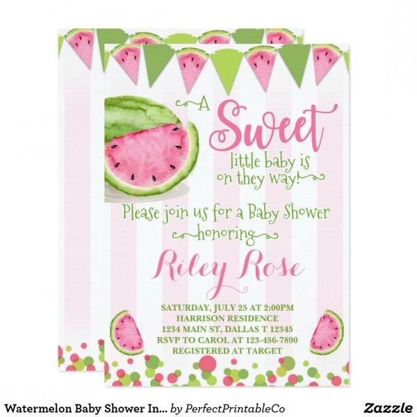 Watermelon Baby Shower Invitation Invite Pink
