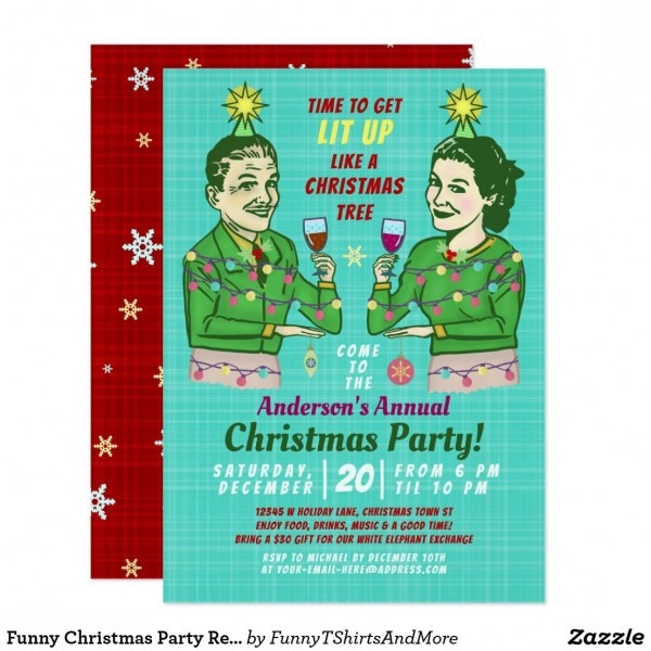 Funny Christmas Party Retro Adult Drinking Lit Up Invitation