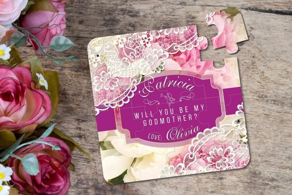 Amazon Com  Will You Be My Godmother Puzzle Invitation Baptism