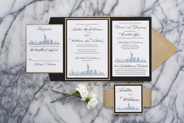 Amazon Com  Custom New York City Themed Wedding Invitation, Nyc