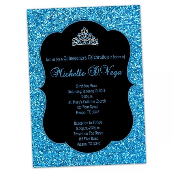 Amazon Com  Aqua Blue Glitter Sweet 16 Invitations Tiara Princess