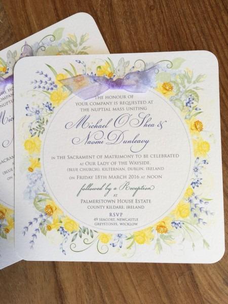Daffodil   Spring Wedding Invitations  Blue And Yellow Wedding