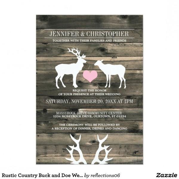 Rustic Country Buck And Doe Wedding Invitation Beautiful Western