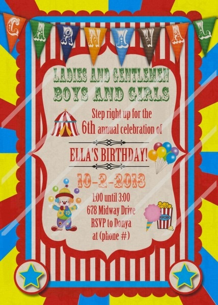 Carnival Fair Circus Theme Park Birthday Custom Personalized