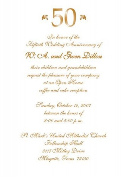 50th Wedding Party Invitations Personalized
