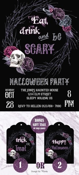 Halloween Invitation For Adults With Bonus Gift Tags, Customizable