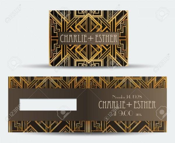Art Deco Vintage Invitation Template Design  Patterns And Frames