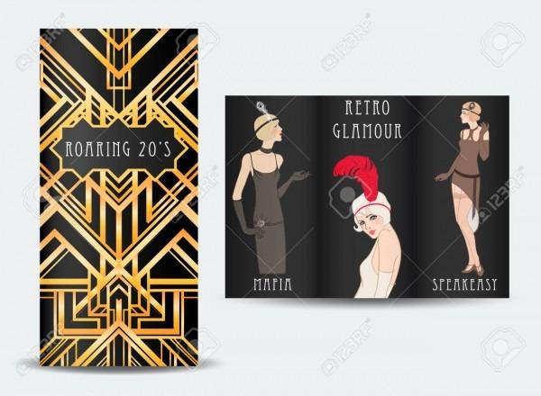 Art Deco Vintage Invitation Template Design With Illustration