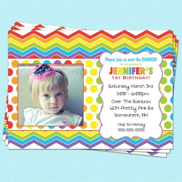 Rainbow Birthday Invitation, First Birthday