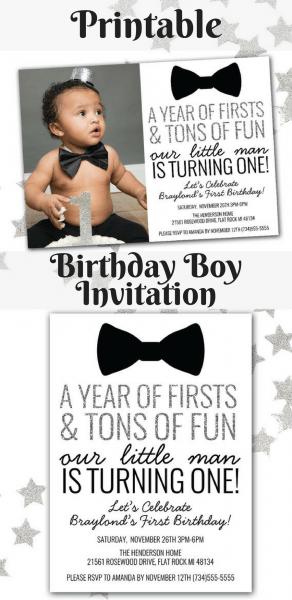 Super Cute Baby Boy's 1st Birthday Invitation