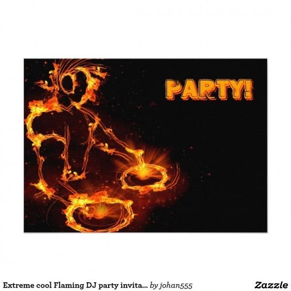 Extreme Cool Flaming Dj Party Invitation  Invitation