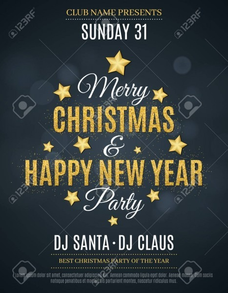 Poster For The Christmas And New Year Party  Invitation Card