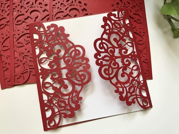Amazon Com  Pearl Red Laser Cut Wedding Invitation,red Wedding