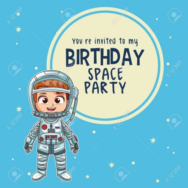 Happy Birthday Invitation Card, Astronauts Kids Cartoons Vector