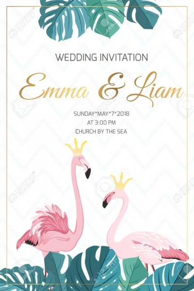 Wedding Marriage Event Invitation Template  Exotic Pink Flamingo