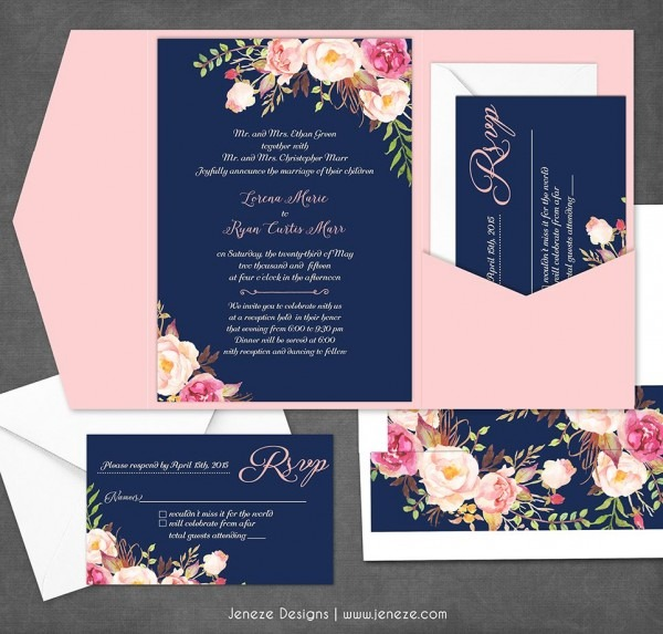 Navy And Blush Pink Wedding Invitations  Complete Custom Suite
