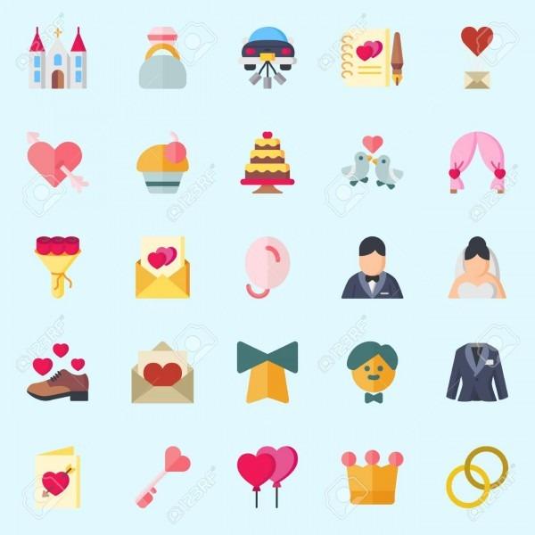 Icons Set About Wedding  With Cupcake, Wedding Invitation, Crown