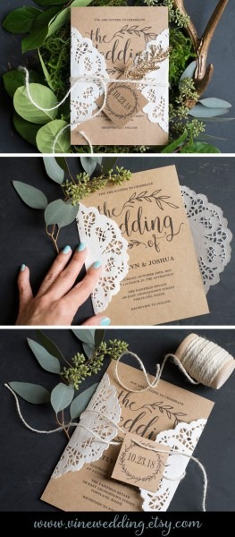 Vintage Wedding Invitation, Rustic Wedding Invitation Set