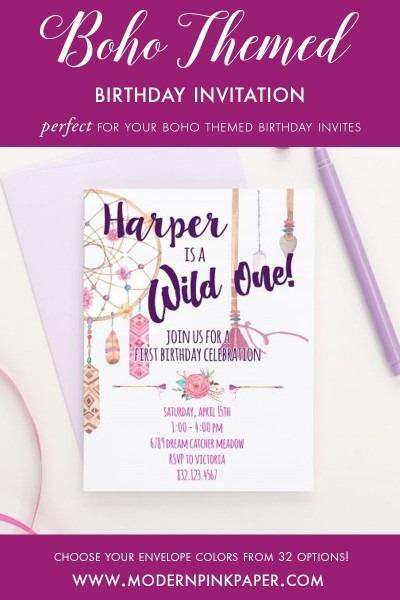 Bohemian Birthday Invitations, Wild One Birthday Invitations For