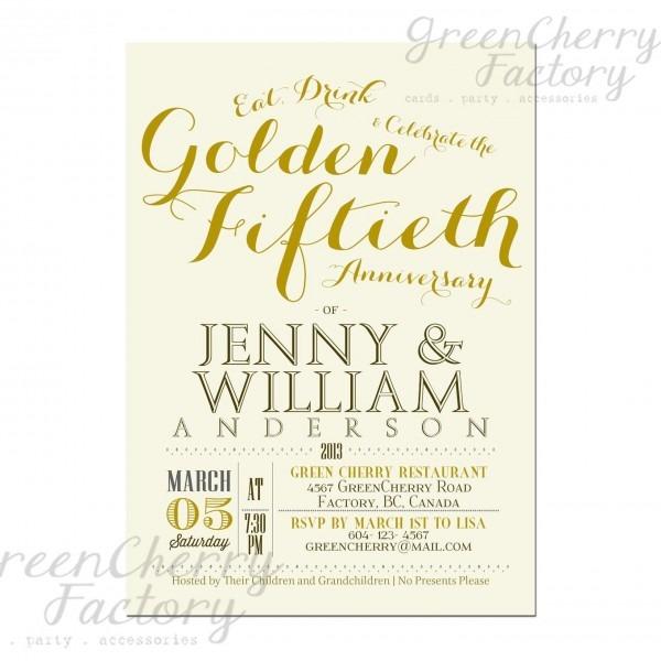 Golden 50th Wedding Anniversary Invitation Idea