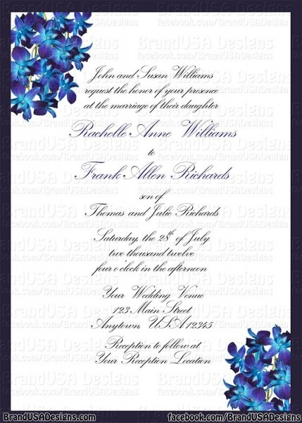 Blue Orchid Wedding Invitations