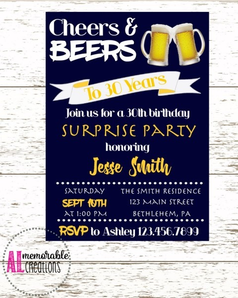 30th Birthday Invitation Cheers And Beers Surprise Party