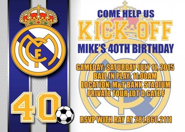 $4 95 Real Madrid Digital Birthday Invitation Soccer Diy Party
