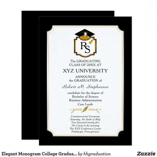 Elegant Monogram College Graduation Announcement