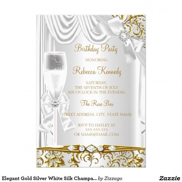 Elegant Gold Silver White Silk Champagne Birthday Invitation
