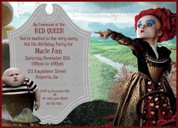 Alice In Wonderland The Red Queen Birthday Party Invitation, Queen