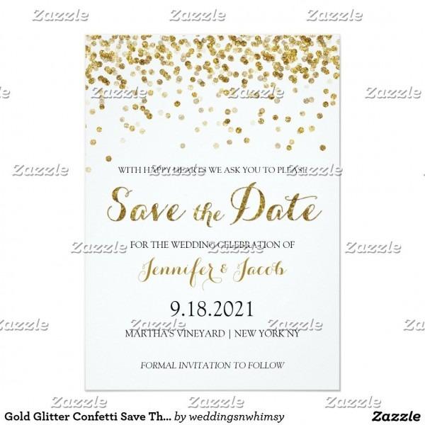 Gold Glitter Confetti Save The Date Invitation