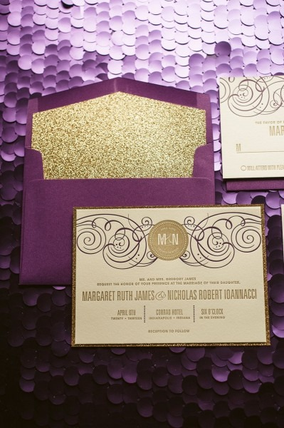 Purple & Gold Glitter Wedding Invitation Gold By Flairnecessities