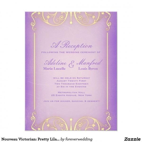 Nouveau Victorian  Pretty Lilac & Gold Wedding Invitation