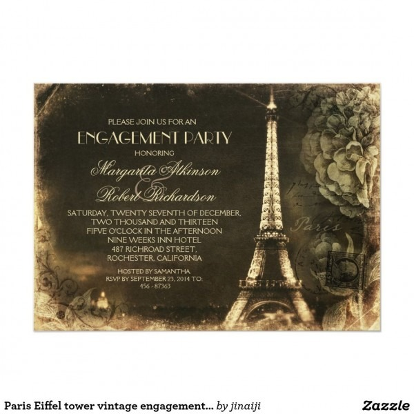 Paris Eiffel Tower Vintage Engagement Party Invitation