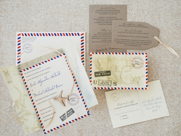 Air Mail Wedding Invitations