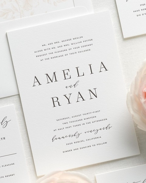 Amelia Letterpress Wedding Invitations