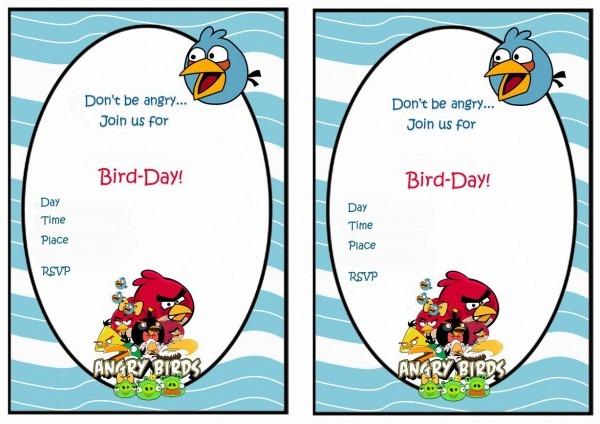 Angry Bird Birthday Invitation Card