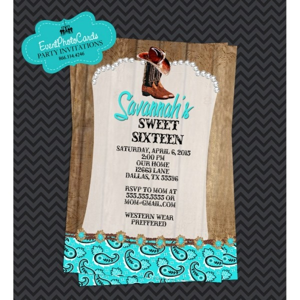 Aqua Rustic Western Cowgirl, Quinceanera Invitations , Sweet 15th