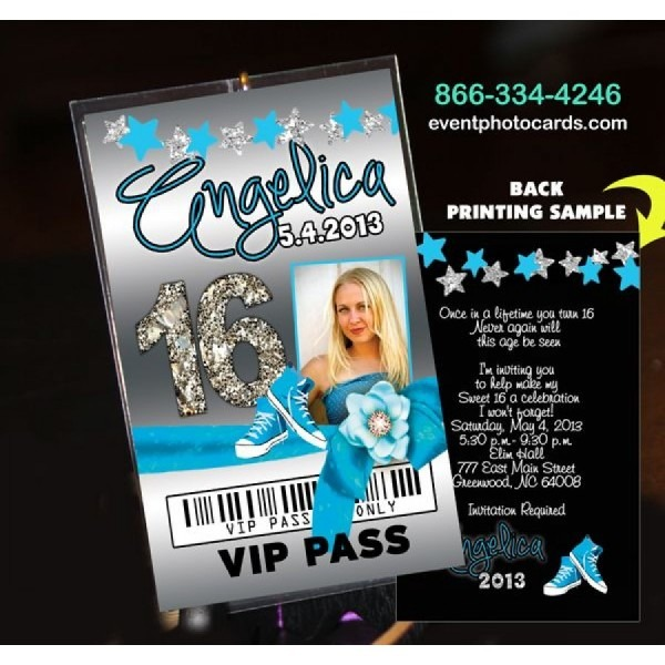 Converse Sweet 16 Aqua Vip Pass Invitations