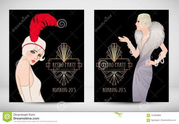 Art Deco Vintage Invitation Template Design With Illustration Of