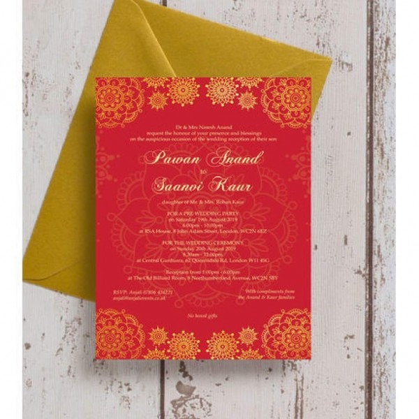 Asian Themed Wedding Invitations Red Gold Indian   Asian Wedding