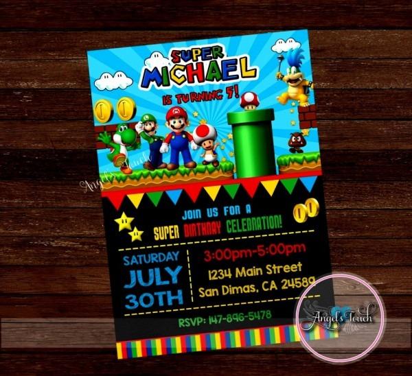 Awesome Mario Birthday Party Invitations Super Invitation Etsy