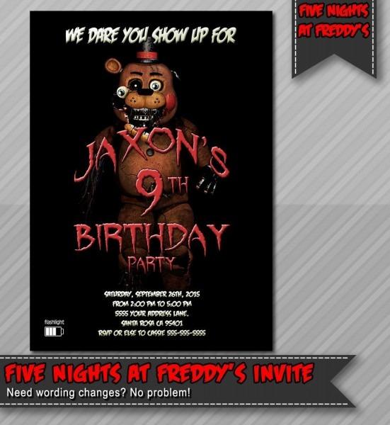 Five Nights At Freddy's Invitation, Fazzbear Invitation, Five
