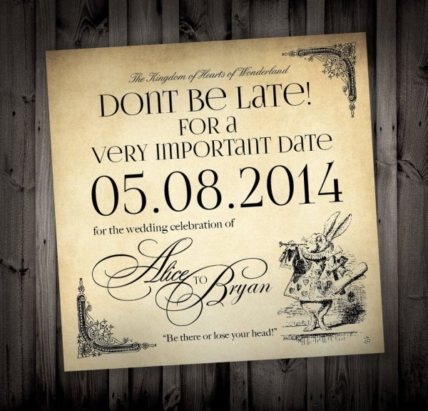 Alice In Wonderland Themed Wedding Invitations By Nimbidesign