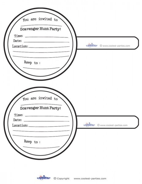 Printable Scavenger Hunt Magnifying Glass Invitations