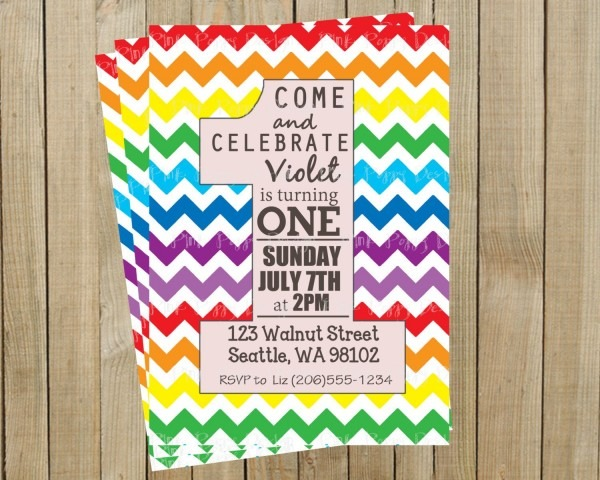 Rainbow Chevron One Rainbow First Birthday Invitation, Custom