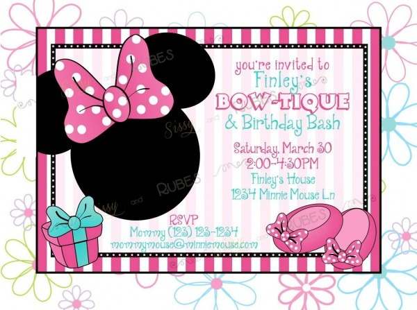 Minnie Mouse Inspired Birthday Invitation And Thank You Note
